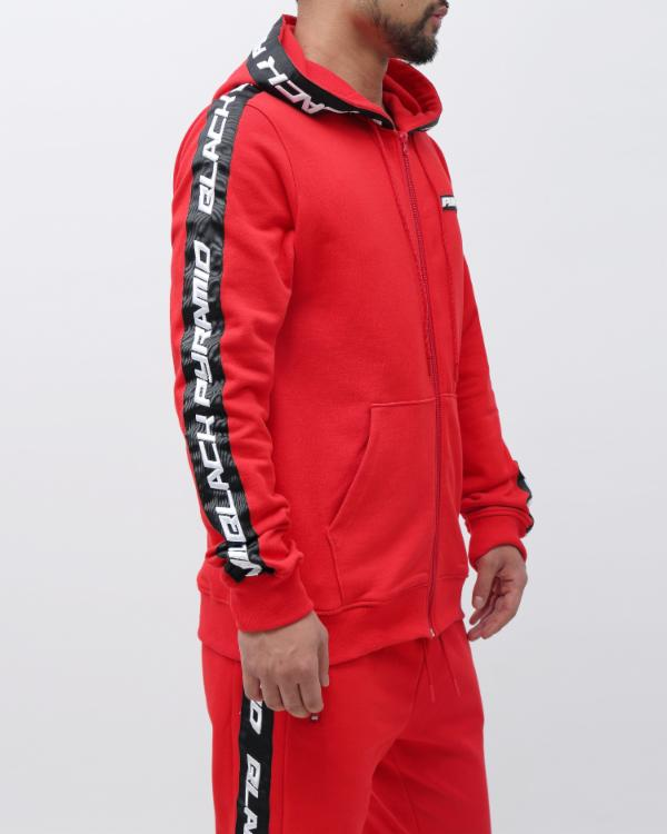 SPEED STRIPE LOGO FULL ZIP HOODY-COLOR: RED