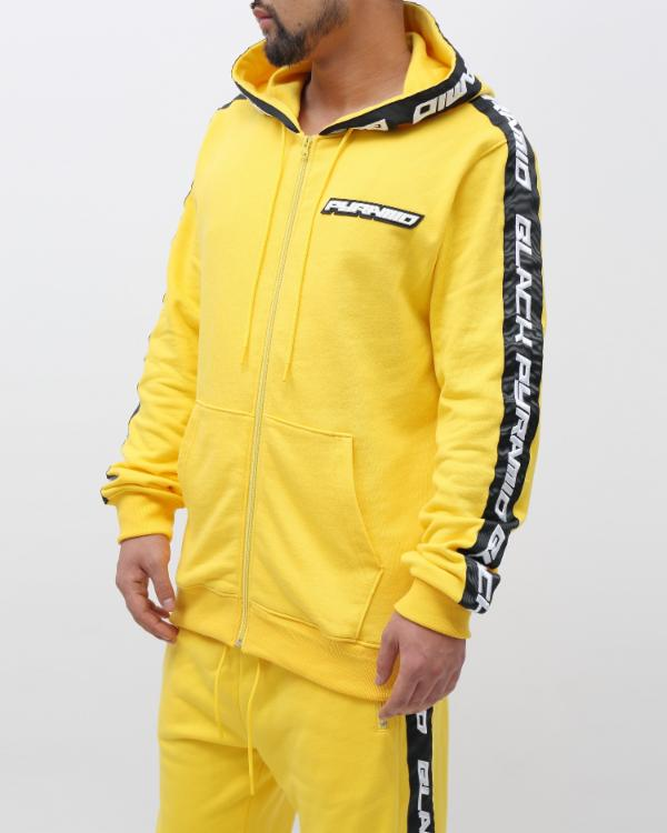 SPEED STRIPE LOGO FULL ZIP HOODY-COLOR: YELLOW
