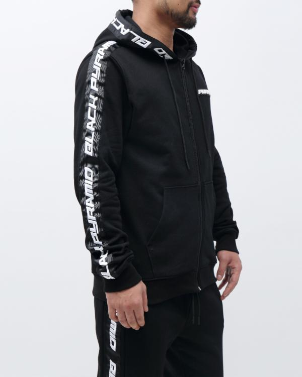 SPEED STRIPE LOGO FULL ZIP HOODY-COLOR: BLACK