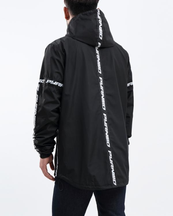 BP LOGO TAPE PULLOVER JACKET-COLOR: BLACK