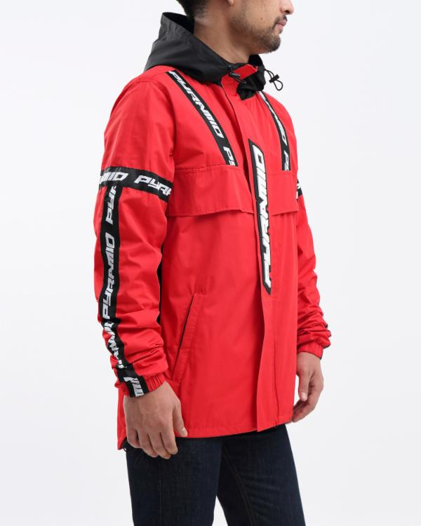 BP LOGO TAPE PULLOVER JACKET-COLOR: RED