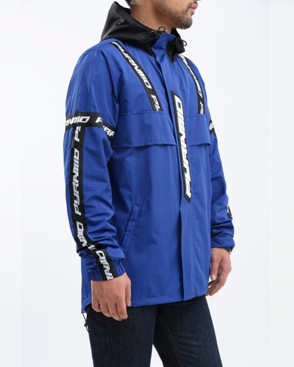 BP LOGO TAPE PULLOVER JACKET-COLOR: ROYAL BLUE