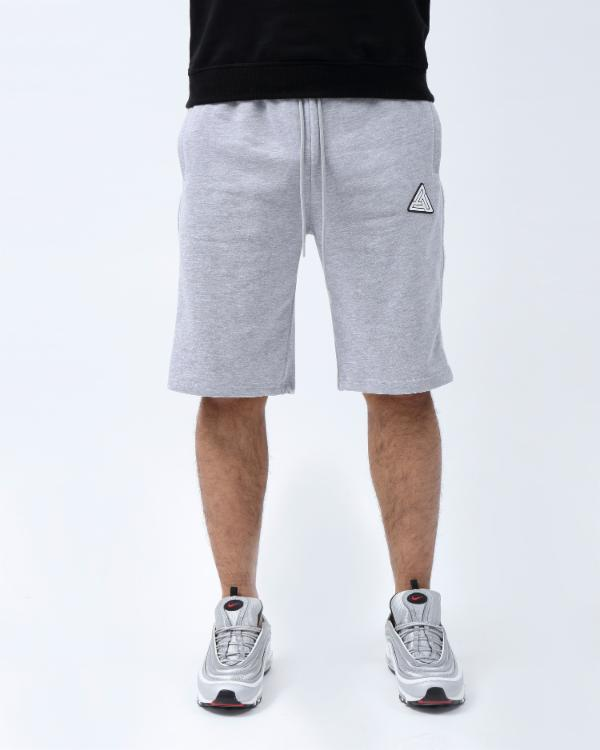 BIG TALL ZIP PANEL SHORTS-COLOR: HEATHER GRAY