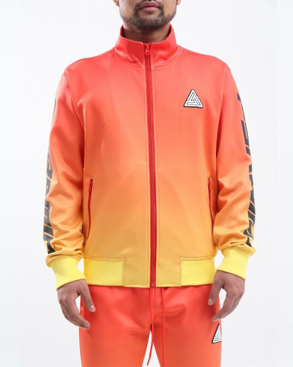 IRDECENT PRINT DIP DYE TRACK JACKET-COLOR: ORANGE