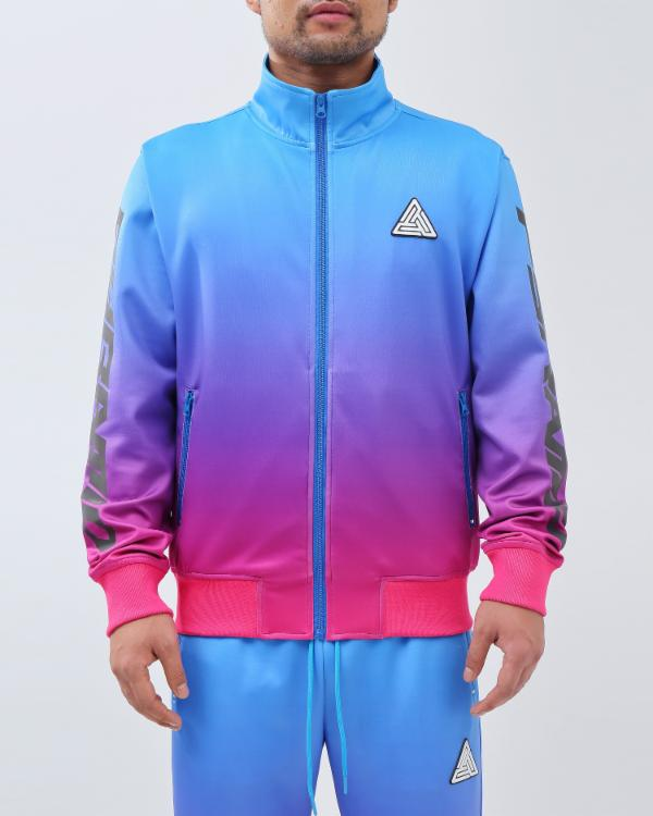 IRDECENT PRINT DIP DYE TRACK JACKET-COLOR: LT BLUE