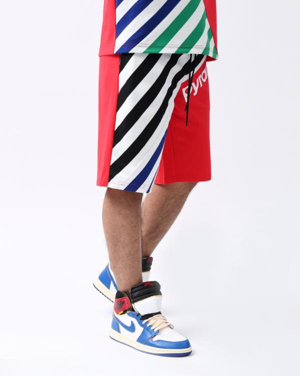 MULTI STRIPE SHORT-COLOR: RED