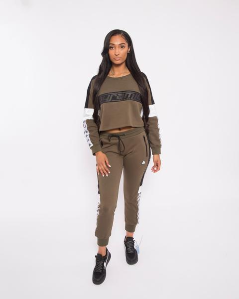 WOMEN LOGO TAPE TRACK PANT-COLOR: GREEN