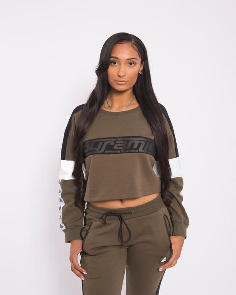 WOMEN LOGO TAPE CROP CREWNECK-COLOR: GREEN