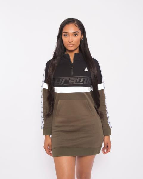 WOMEN LOGO TAPE TRACK DRESS-COLOR: GREEN