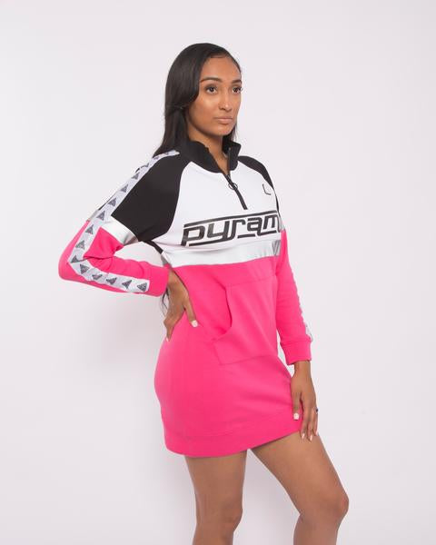 WOMEN LOGO TAPE TRACK DRESS-COLOR: PINK