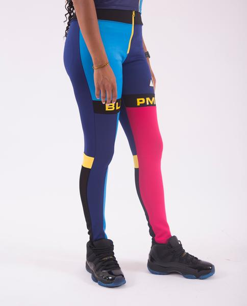 WOMENS BLK PMD BLOCK LEGGINGS-COLOR: BLUE