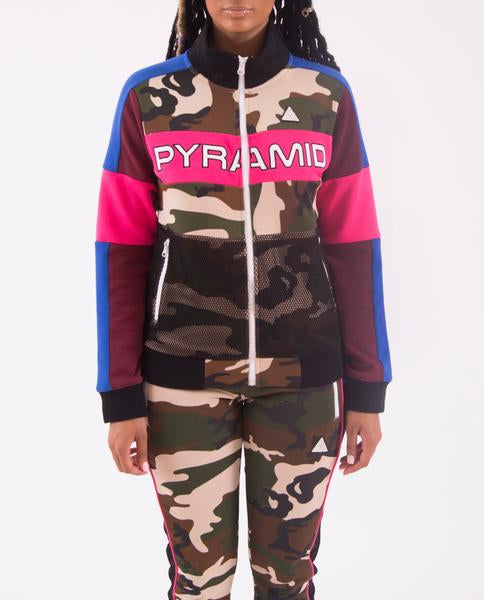 WOMENS COLOR POP CAMO TRACK JACKET