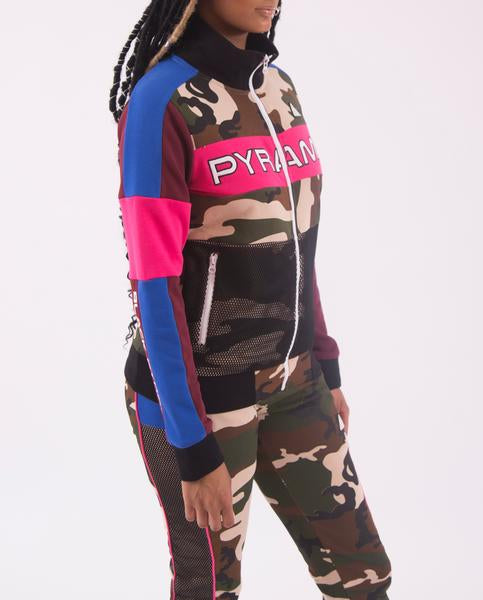 WOMENS COLOR POP CAMO TRACK JACKET-COLOR:CAMO