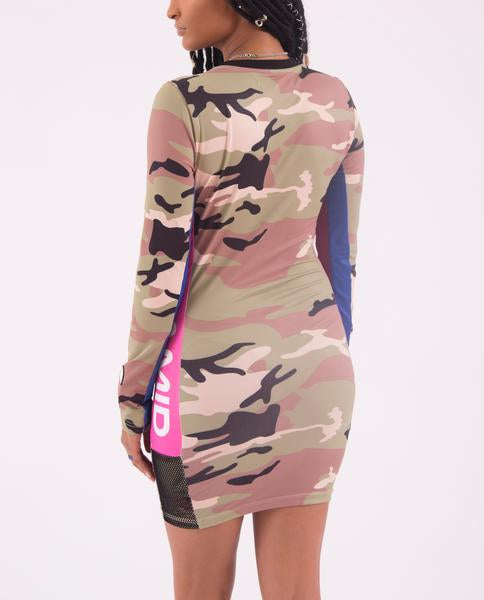 WOMENS COLOR POP CAMO DRESS-COLOR: CAMO