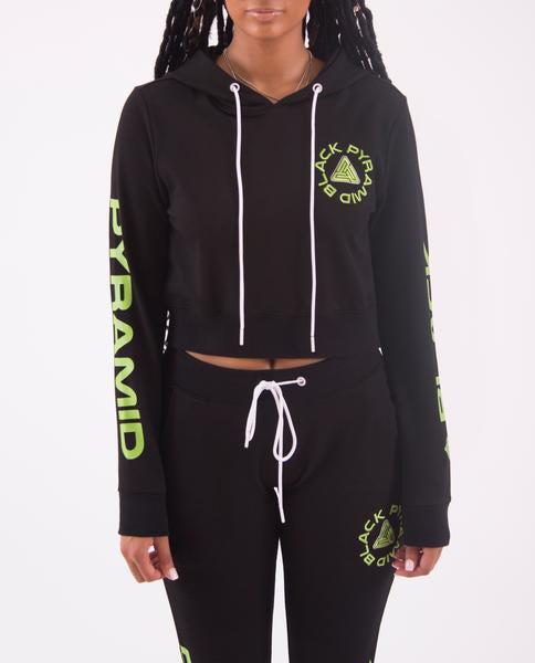 WOMENS TOTAL COVERAGE DRIP CROP HOODIE