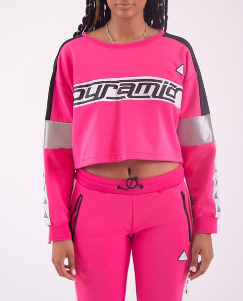 WOMEN LOGO TAPE CROP CREWNECK