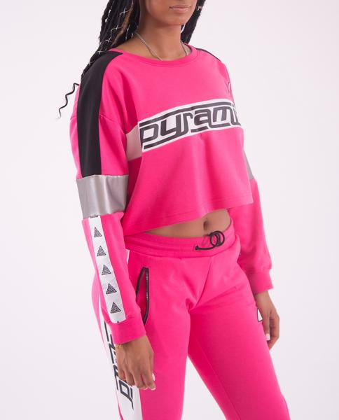 WOMEN LOGO TAPE CROP CREWNECK-COLOR: PINK