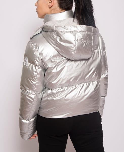 WOMENS BP MATALLIC CROPPED PUFFER-COLOR: SILVER