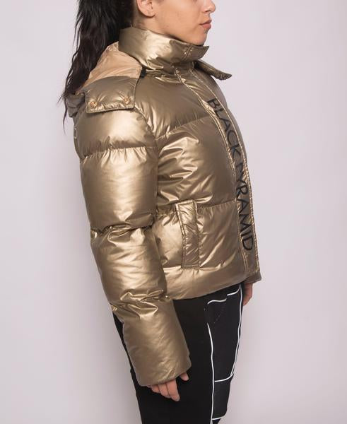 WOMENS BP MATALLIC CROPPED PUFFER-COLOR: GOLD