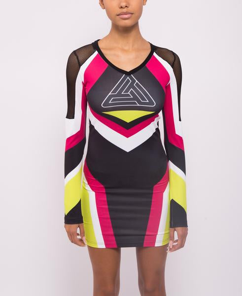 WOMENS MOTORCROSS BODYCON DRESS-COLOR: PINK