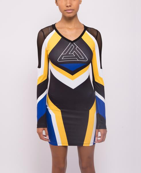 WOMENS MOTORCROSS BODYCON DRESS-COLOR: YELLOW