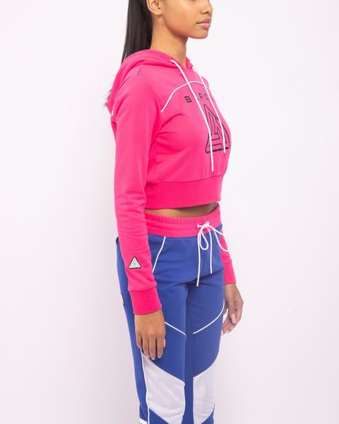 WOMENS ZIP BACK CROPPED PYRAMID LOGO HOODIE-COLOR: PINK