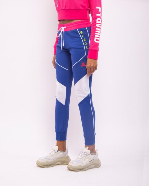 WOMENS CONTRAST PIPING JOGGERS-COLOR: BLUE