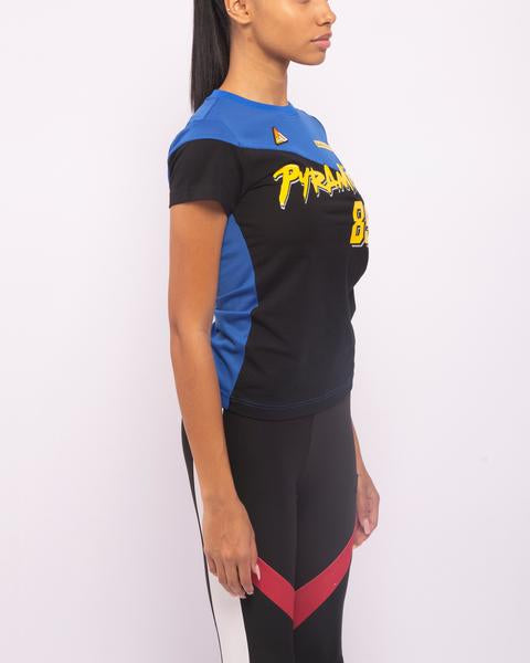 WOMENS MOTORCROSS MIXED FABRIC TOP-COLOR: BLUE