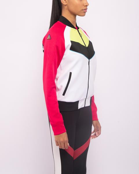 WOMENS MOTORCROSS COLOR BLOCKED TRACK JACKET-COLOR: PINK