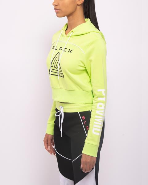 WOMENS ZIP BACK CROPPED PYRAMID LOGO HOODIE-COLOR: NEON GREEN