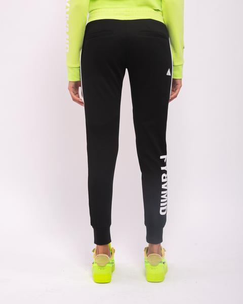 WOMENS CONTRAST PIPING JOGGERS-COLOR: BLACK