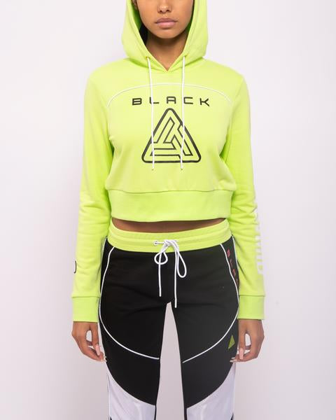 WOMENS ZIP BACK CROPPED PYRAMID LOGO HOODIE