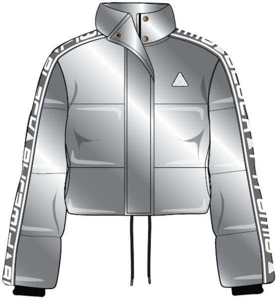 LOGO TAPED VELOUR PUFFER