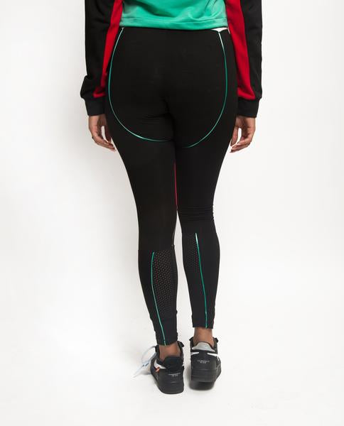 Womens ColorBlocked Liner Logo Leggings-COLOR: BLACK