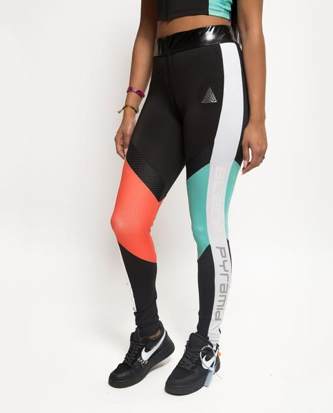 WOMENS COLORBLOCKED TECH LOGO LEGGINGS-COLOR: BLACK