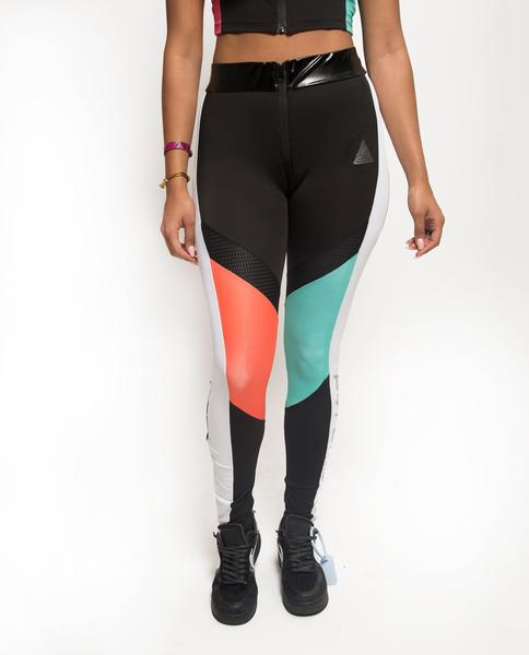 WOMENS COLORBLOCKED TECH LOGO LEGGINGS