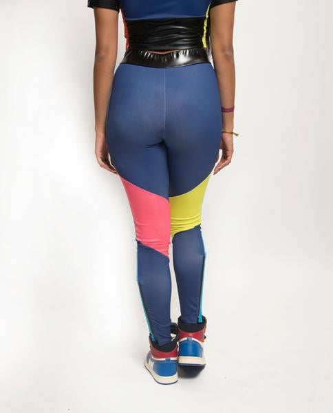 WOMENS COLORBLOCKED TECH LOGO LEGGINGS-COLOR: BLUE