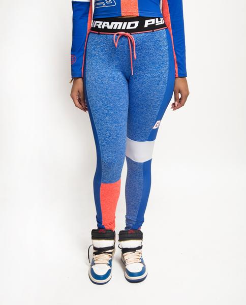 WOMENS PYRAMID STATIC BLOCKED LEGGINGS-COLOR: BLUE