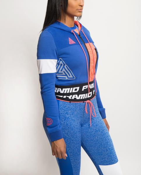 WOMENS PYRAMID STATIC BLOCKED HOODIE-COLOR: BLUE