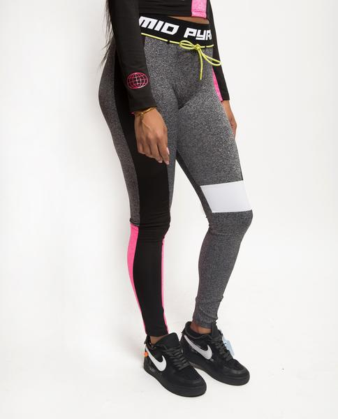 WOMENS PYRAMID STATIC BLOCKED LEGGINGS-COLOR: BLACK