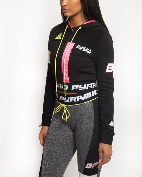 WOMENS PYRAMID STATIC BLOCKED HOODIE-COLOR: BLACK
