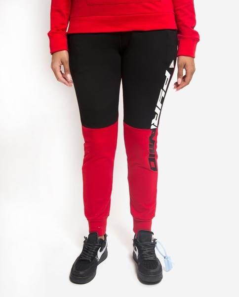 WOMENS SPLIT LOGO GORE JOGGER-COLOR: RED