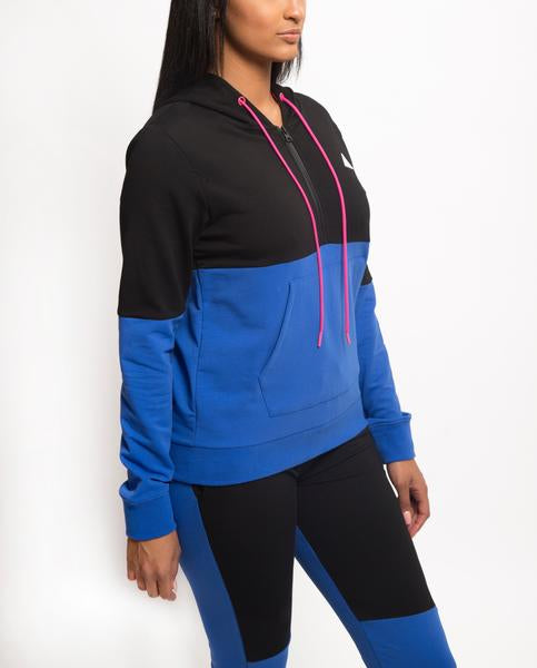 WOMENS SPLIT LOGO CORE HOODIE-COLOR: BLUE
