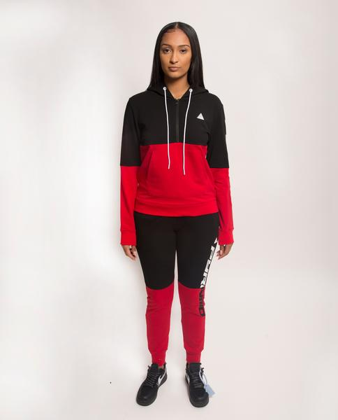 WOMENS SPLIT LOGO CORE HOODIE-COLOR: RED