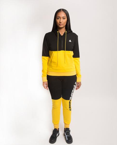 WOMENS SPLIT LOGO CORE HOODIE-COLOR: YELLOW