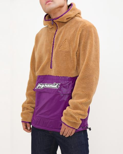 Pullover Mixed Nylon Hoody-COLOR: PURPLE