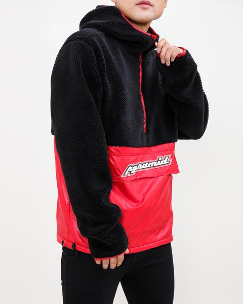 Pullover Mixed Nylon Hoody-COLOR: RED