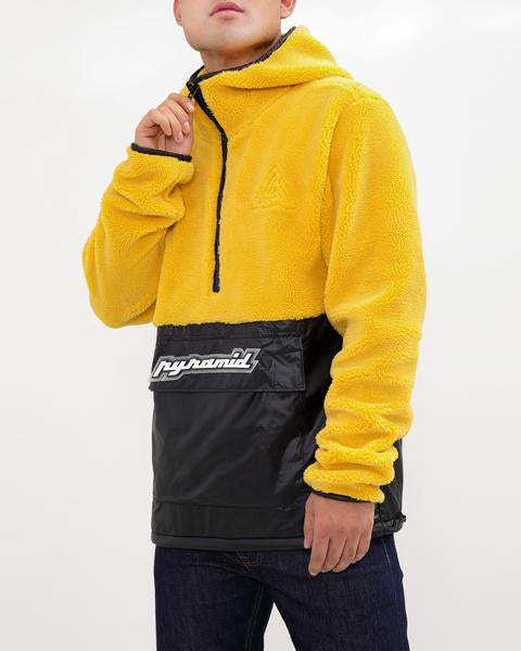 Pullover Mixed Nylon Hoody-COLOR: BLACK