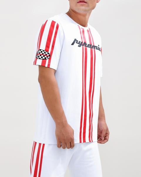 STRIPED RACE CREW SHIRT-COLOR: WHITE