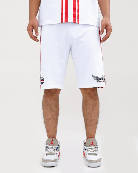 STRIPED RACE CREW SHORTS-COLOR: WHITE